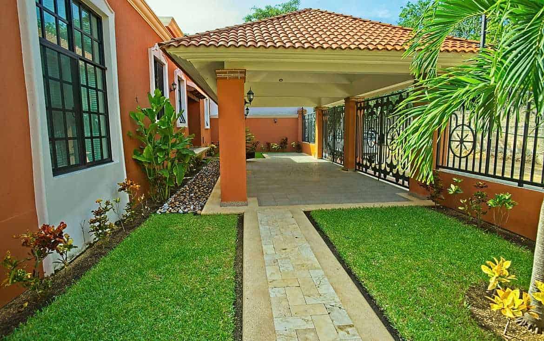 Gardens, walkways and manicured lawns