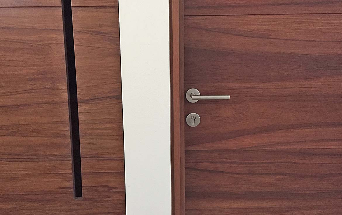 Modern and wooden doors and closets.
