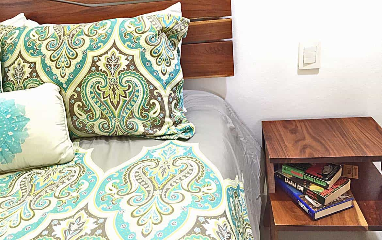 Solid wood bedroom furniture.